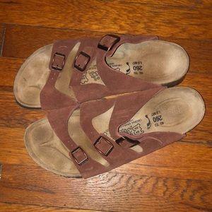 Birkenstock birkis brown suede sandals 3 strap 40